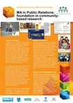 MA in Public Relations: Foundation in Community Based Research by Catherine Bates and Edward Brennan