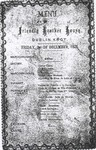 Friendly Brother House, Menu, 3 December 1875