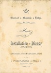 Masonic Lodge, Clontarf, Installation Dinner, Menu, 17th February 1906