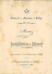 Masonic Lodge, Clontarf, Installation Dinner, Menu, 17th February 1906