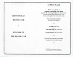 Beaver Club, Le Menu Plaisir