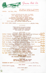 Glenview Hotel, Menu, 3rd July 1981
