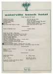 Waterville Beach Hotel, Dinner Menu, 8th August, 1981