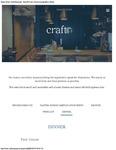 Craft Restaurant Dinner Menu 2017