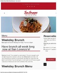 San Lorenzo Weekday Brunch Menu 2017